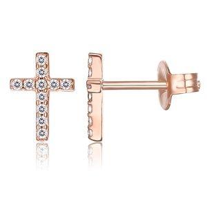 14K rose Gold Plated Girls Sterling Earrings